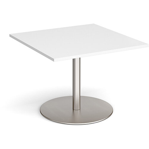 Eternal Square Boardroom Table Extension 1000mm x 1000mm - Brushed Steel Base &White Top