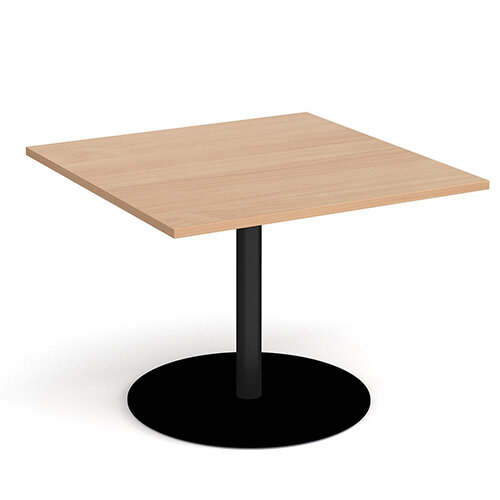 Eternal Square Boardroom Table Extension 1000mm x 1000mm - Black Base &Beech Top