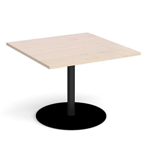Eternal Square Boardroom Table Extension 1000mm x 1000mm - Black Base &Maple Top