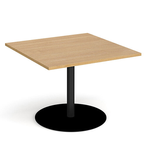 Eternal Square Boardroom Table Extension 1000mm x 1000mm - Black Base &Oak Top