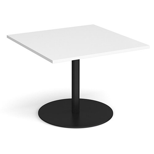 Eternal Square Boardroom Table Extension 1000mm x 1000mm - Black Base &White Top