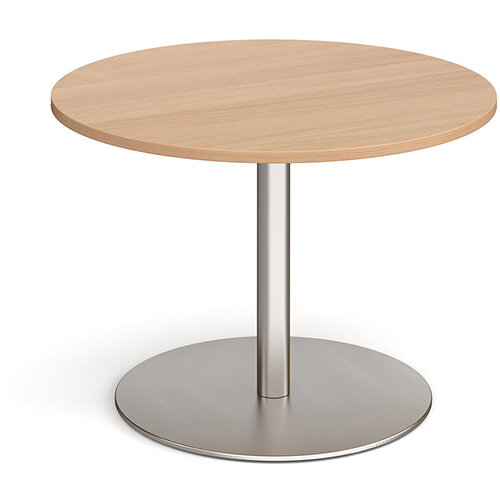 Eternal Circular Boardroom Table 1000mm - Brushed Steel Base &Beech Top