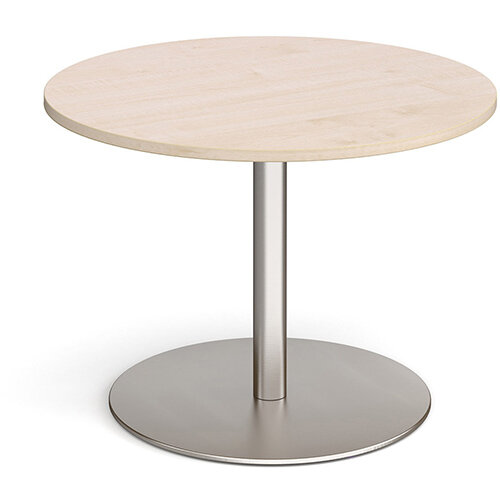 Eternal Circular Boardroom Table 1000mm - Brushed Steel Base &Maple Top