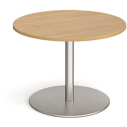 Eternal Circular Boardroom Table 1000mm - Brushed Steel Base &Oak Top