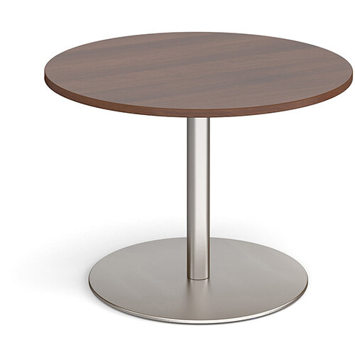 Eternal Circular Boardroom Table 1000mm - Brushed Steel Base &Walnut Top