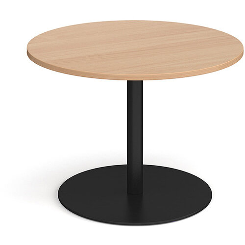Eternal Circular Boardroom Table 1000mm - Black Base &Beech Top