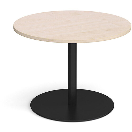 Eternal Circular Boardroom Table 1000mm - Black Base &Maple Top