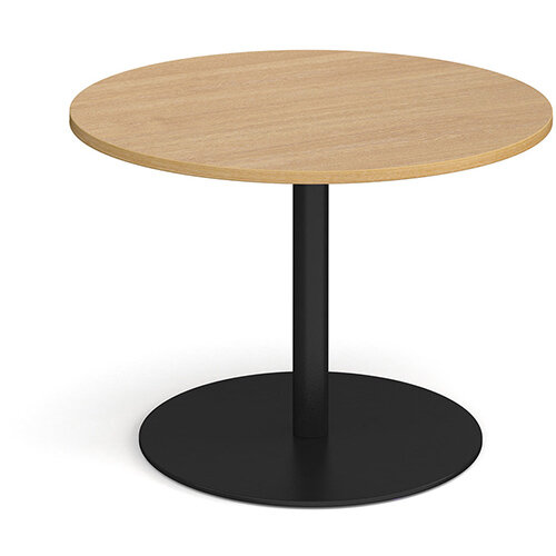 Eternal Circular Boardroom Table 1000mm - Black Base &Oak Top