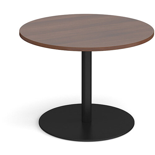 Eternal Circular Boardroom Table 1000mm - Black Base &Walnut Top