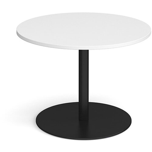 Eternal Circular Boardroom Table 1000mm - Black Base &White Top