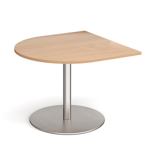 Eternal Radial D-End Boardroom Table Extension 1000mm x 1000mm - Brushed Steel Base &Beech Top
