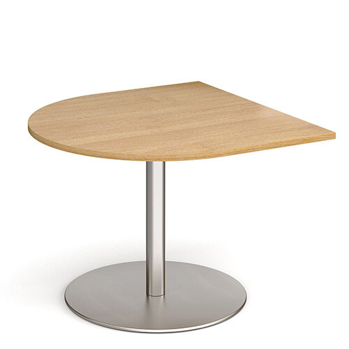 Eternal Radial D-End Boardroom Table Extension 1000mm x 1000mm - Brushed Steel Base &Oak Top