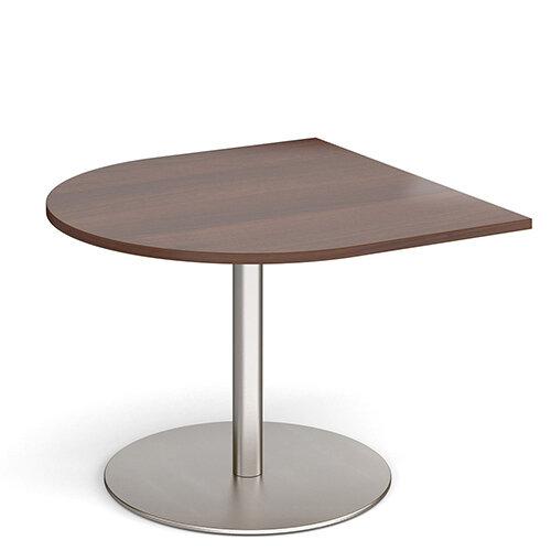 Eternal Radial D-End Boardroom Table Extension 1000mm x 1000mm - Brushed Steel Base &Walnut Top