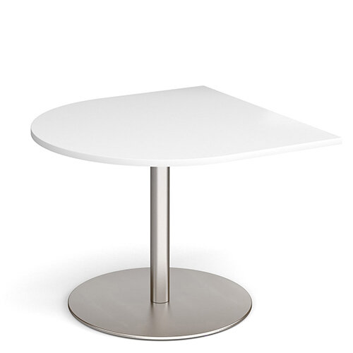 Eternal Radial D-End Boardroom Table Extension 1000mm x 1000mm - Brushed Steel Base &White Top