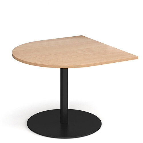 Eternal Radial D-End Boardroom Table Extension 1000mm x 1000mm - Black Base &Beech Top