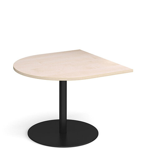 Eternal Radial D-End Boardroom Table Extension 1000mm x 1000mm - Black Base &Maple Top
