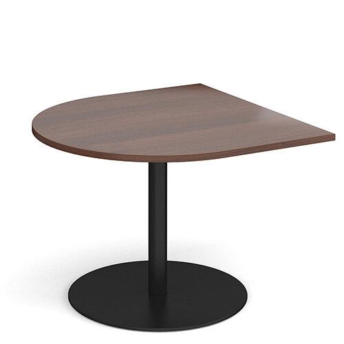 Eternal Radial D-End Boardroom Table Extension 1000mm x 1000mm - Black Base &Walnut Top