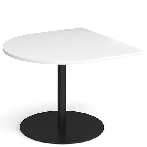 Eternal Radial D-End Boardroom Table Extension 1000mm x 1000mm - Black Base &White Top
