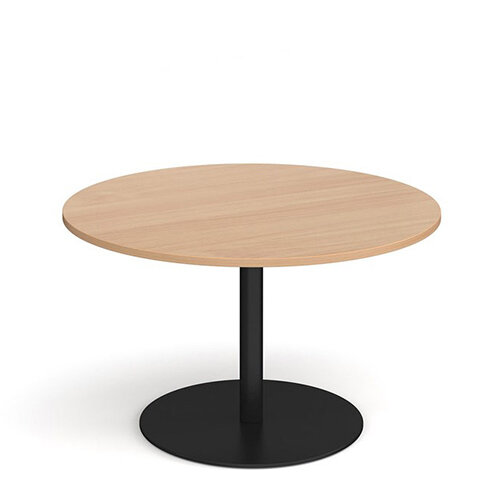 Eternal Circular Boardroom Table 1200mm - Black Base &Beech Top