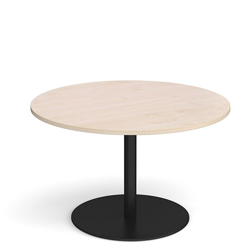 Eternal Circular Boardroom Table 1200mm - Black Base &Maple Top