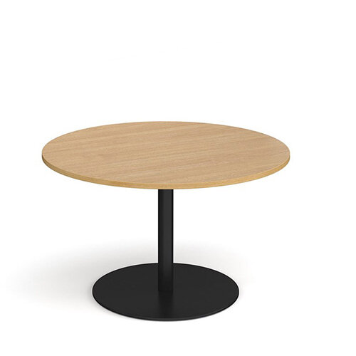 Eternal Circular Boardroom Table 1200mm - Black Base &Oak Top