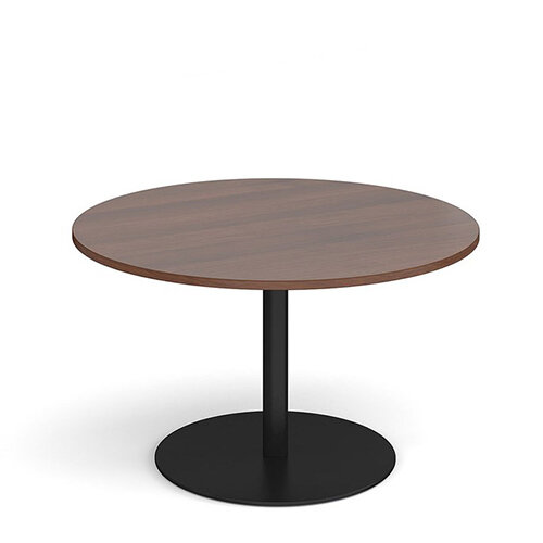 Eternal Circular Boardroom Table 1200mm - Black Base &Walnut Top