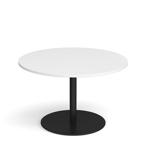 Eternal Circular Boardroom Table 1200mm - Black Base &White Top
