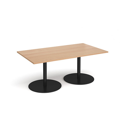 Eternal Rectangular Boardroom Table 1800mm x 1000mm - Black Base &Beech Top