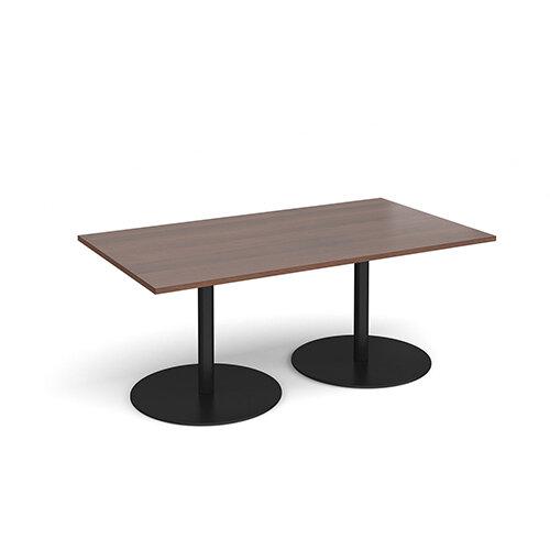 Eternal Rectangular Boardroom Table 1800mm x 1000mm - Black Base &Walnut Top