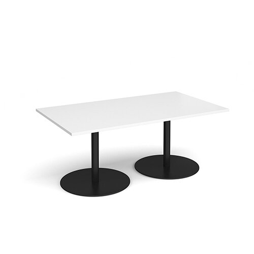 Eternal Rectangular Boardroom Table 1800mm x 1000mm - Black Base &White Top