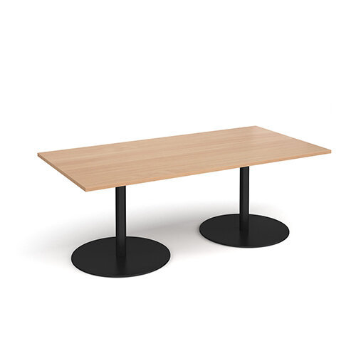 Eternal Rectangular Boardroom Table 2000mm x 1000mm - Black Base &Beech Top