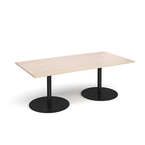 Eternal Rectangular Boardroom Table 2000mm x 1000mm - Black Base &Maple Top