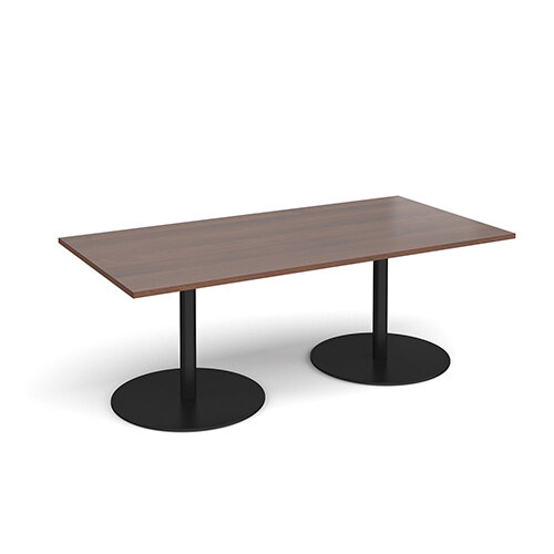 Eternal Rectangular Boardroom Table 2000mm x 1000mm - Black Base &Walnut Top