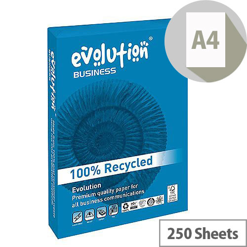 Evolution Business A4 120gsm White Recycled Paper Pack of 250 Sheets EVO00100