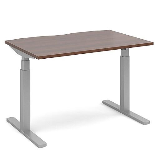 Elev8 Touch Height Adjustable Rectangular Sit-Stand Office Desk 1200mmx800mm With Silver Frame &Walnut Top