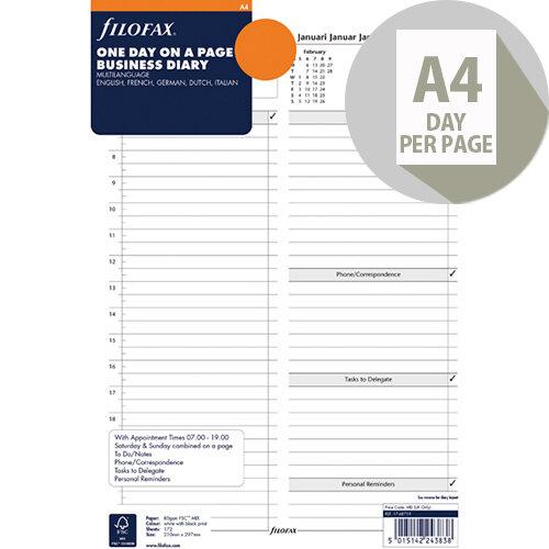 Filofax A4 Day Per Page 2020 Refill 20-68719
