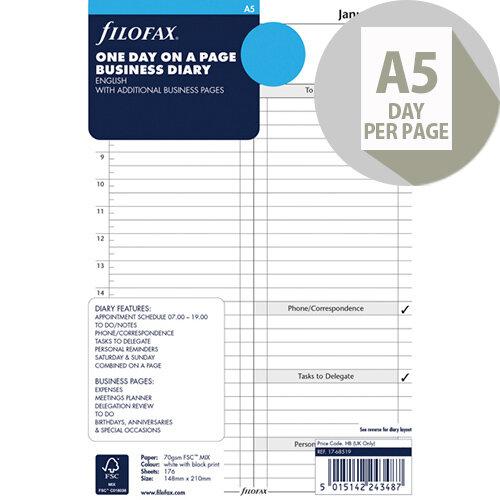 Filofax A5 Day Per Page 2020 Refill 20-68519