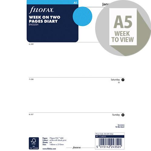 Filofax A5 Week To View 2020 Refill 20-68522