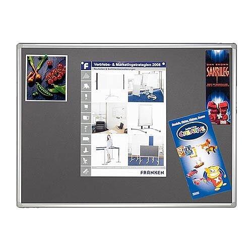 Franken Grey Felt Pin Board PRO Aluminium Frame 900x600mm PT830212