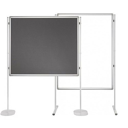 Double Sided Felt Notice Board Grey &Whiteboard 1500 x 1200mm For Franken Pro Partition System  - Feet are not Included, Available to Buy Separately