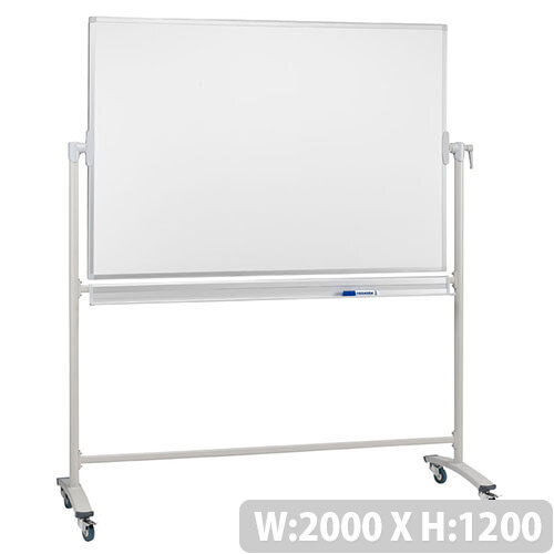 Franken Revolving Magnetic Whiteboard Enamel/Projection Mobile Aluminium Frame 2000x1200mm ST217