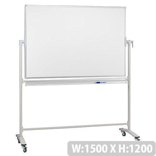Franken Mobile Revolving Whiteboard 1500 x 1200 Lacquered Surface Steel Frame STC207