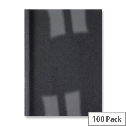 GBC A4 Thermal Binding Cover 1.5mm 250gsm PVC/Leathergrain Back Clear/Black Pack 100