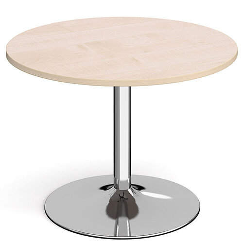 Genoa Circular Maple Dining Table with Chrome Trumpet Base 1000mm
