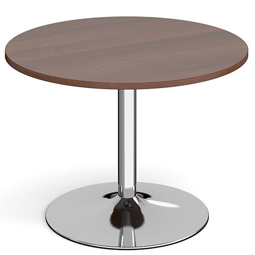 Genoa Circular Walnut Dining Table with Chrome Trumpet Base 1000mm