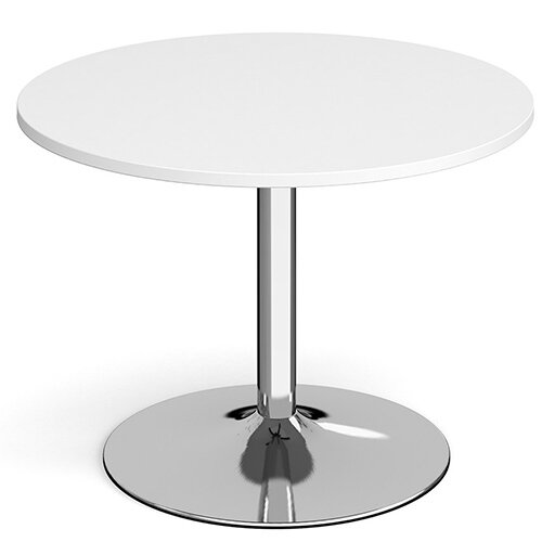 Genoa Circular White Dining Table with Chrome Trumpet Base 1000mm