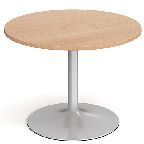 Genoa Circular Beech Dining Table with Silver Trumpet Base 1000mm