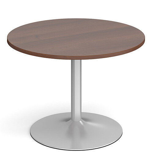 Genoa Circular Walnut Dining Table with Silver Trumpet Base 1000mm