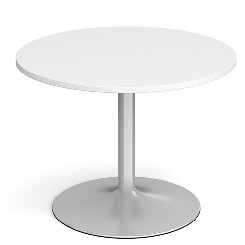 Genoa Circular White Dining Table with Silver Trumpet Base 1000mm