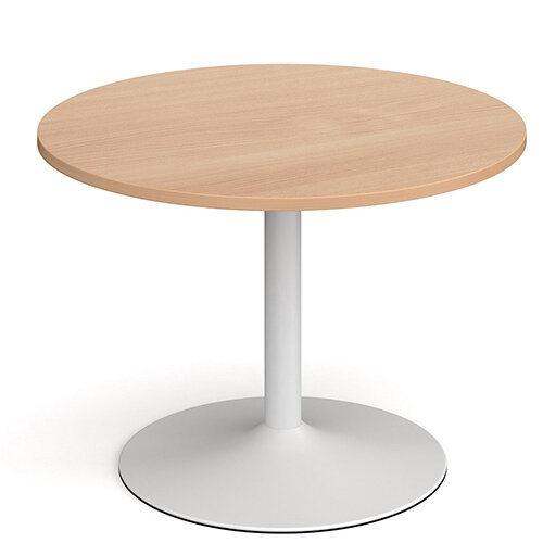 Genoa Circular Beech Dining Table with White Trumpet Base 1000mm